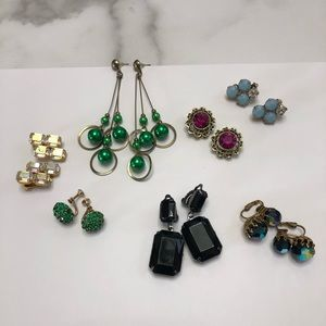 Lot of 7 pairs of vintage Earrings Clip on Dangle